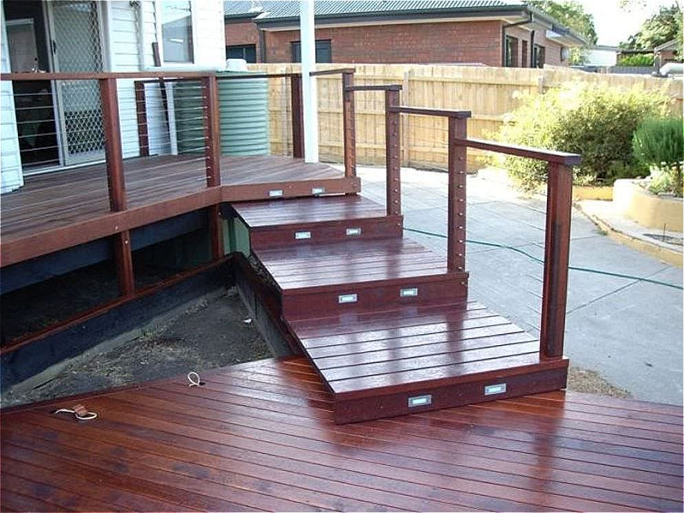 Stepped deck bridge connection using 42 thick merbau planks