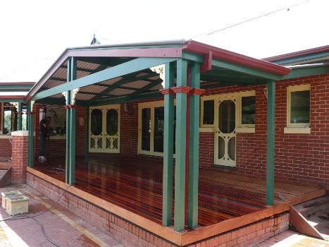 Colonial style gable verandah with deck, designed to suit colonial dwelling Yarrambat Melbourne