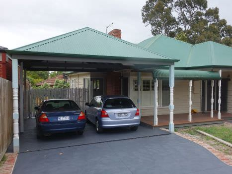 Heritage style double carport designed to blend with restored weatherboard house Nunawading Melbourne