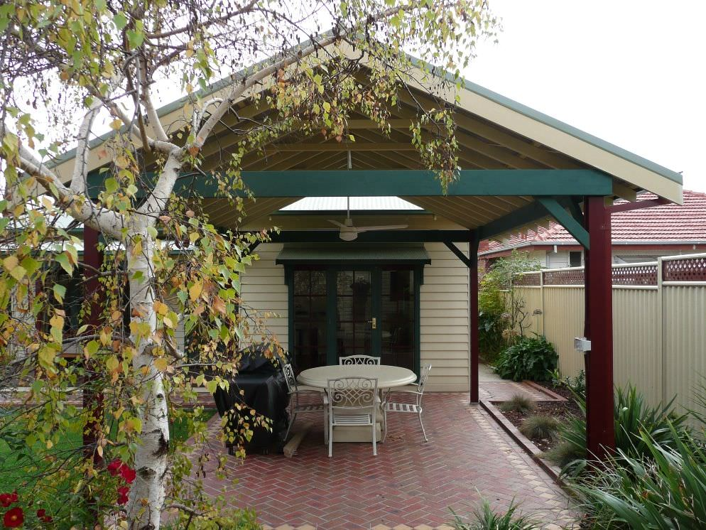 Heritage style gable patio gazebo matching style of weatherboard home
