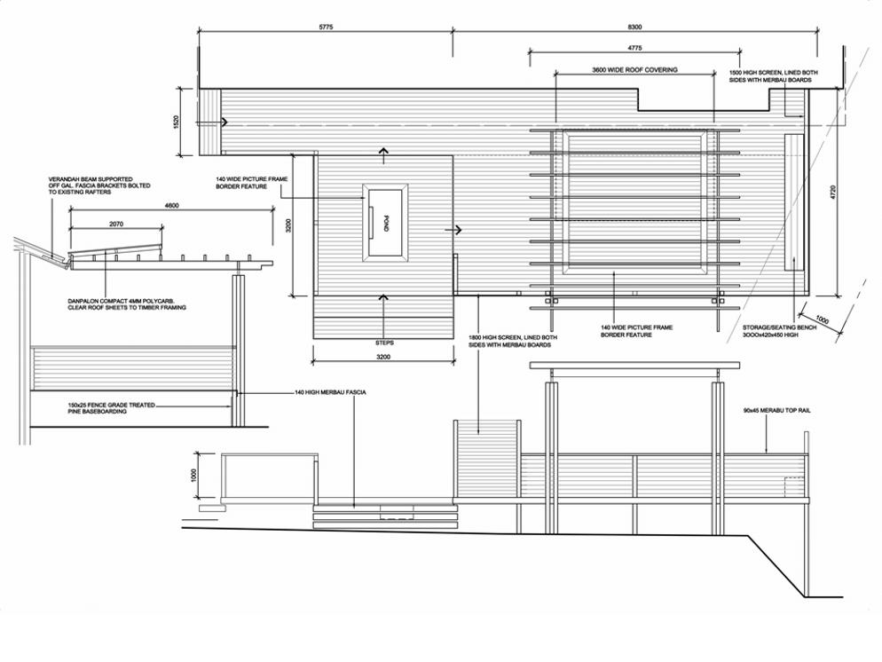 Modern deck & pergola design plan addresses street appeal - Decking Pergola Verandah Carport Balcony Design Ideas Project Plans