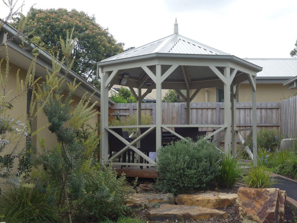 Traditional style gazebo in common area of retirement village
