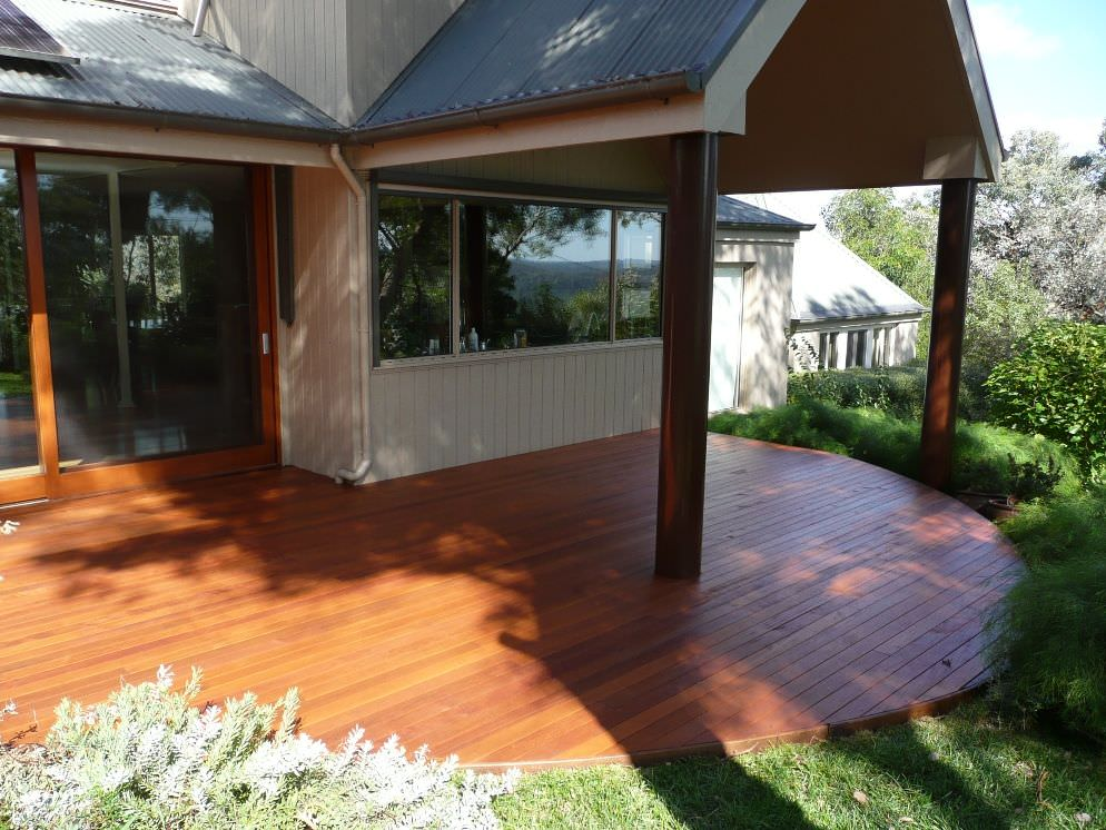 Curved merbau timber deck