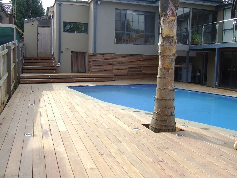 Wide spotted gum boards to pool deck